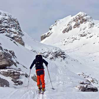 Ski Mountaineering to the North Couloir of Cima Antersas