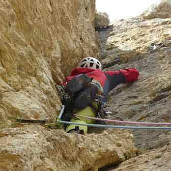 Diedro Buhl Climbing Route to Piz Ciavazes in the Sella Group