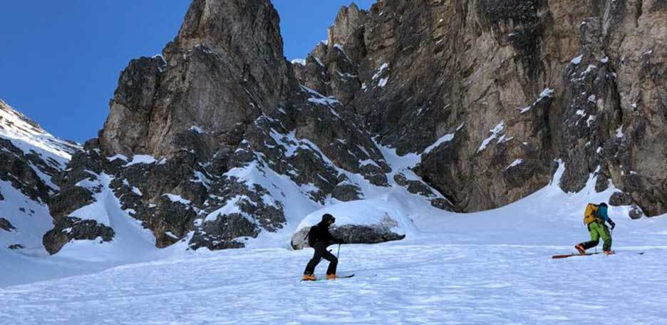 Ski Mountaineering to Forcella del Dente at Sassolungo