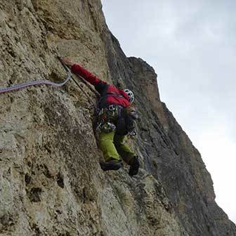 Diedro Vinatzer Climbing Route to Piz Ciavazes in the Sella Group