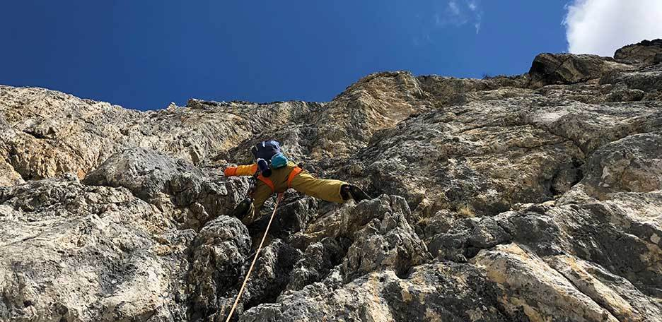 Costantini Ghedina Climbing Route to the Pilastro of Tofana di Rozes
