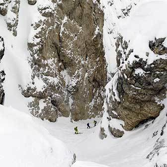 Ski Mountaineering to Val Setus at Sella Massif